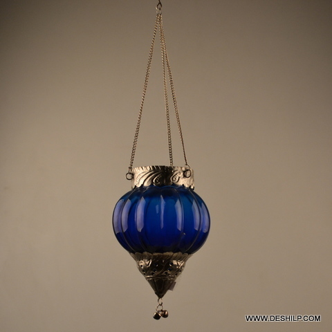 COLOURFUL GLASS HANGING T LIGHT CANDLE
