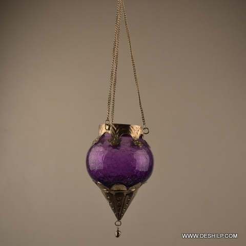 BLUE COLOR CREAK GLASS HANGING CANDLE