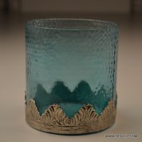 ROUND GLASS COLORFUL CANDLE HOLDER
