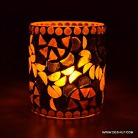 Decorative and Antique Inside & outside Mosaic etching candle votive