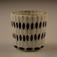 SMALL BLACK AND WHITE GLASS VOTIVE