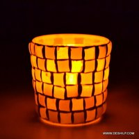 YELLOW MOSAIC GLASS CANDLE HOLDER
