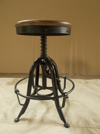 Iron & Wooden Combination Bar Stool