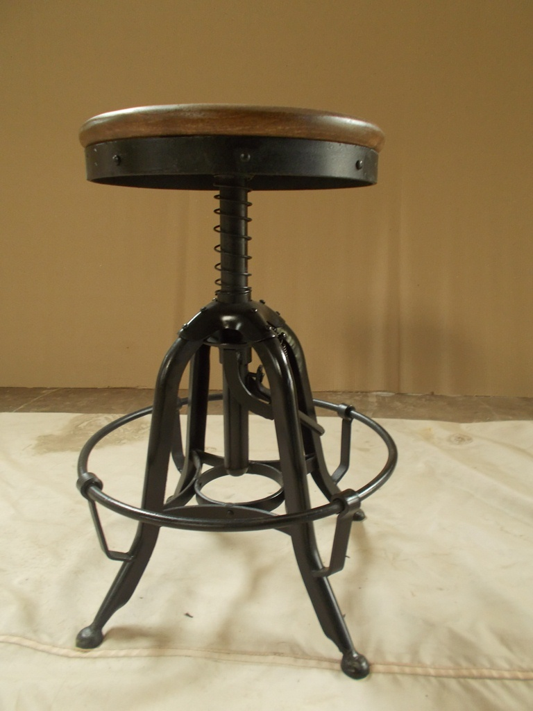 Bar Stool With Cast Iron Base & Leather Seat