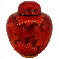 Fall Leaf Cloisonne Cremation Urn