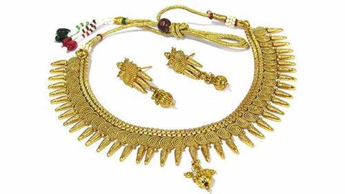 Copper Jalebi Sun Ray Necklace Set