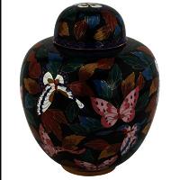Beautiful Butterfly Cloisonne Urn