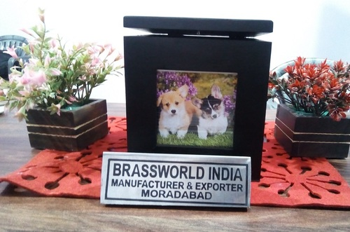 Brass Pet Cremation Urn For Ashes Pet Urn Wood Photo Frame Urn