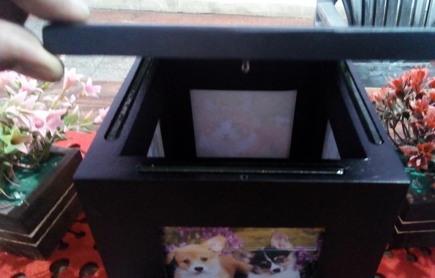 Brass Pet Cremation Urn For Ashes Pet Urn Wood Photo Frame Urn