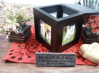 Brass Pet Cremation Urn For Ashes / Pet Urn / Wood Photo Frame Urn