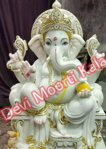Marble Chowki Ganesh Moorti Statue