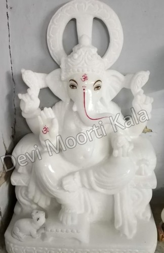 Marble White Ganesh Moorti Statue