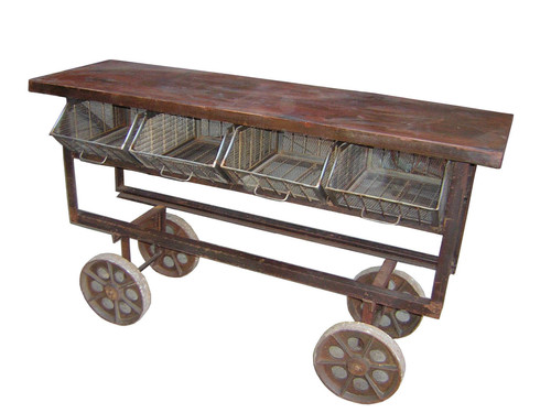 Industrial Cart Table Four Wheels with Storage