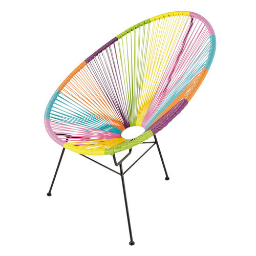 Round Multi Colored Woven Chair.
