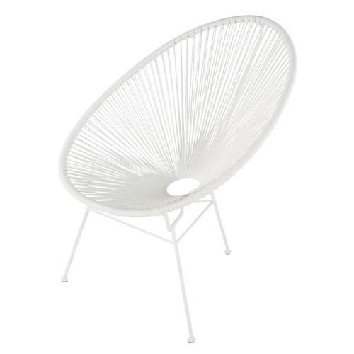 Round White Garden Woven Chair