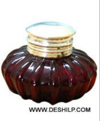 COLORFUL GLASS INK-POT WITH LID