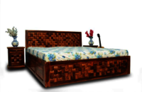 block design wooden bed