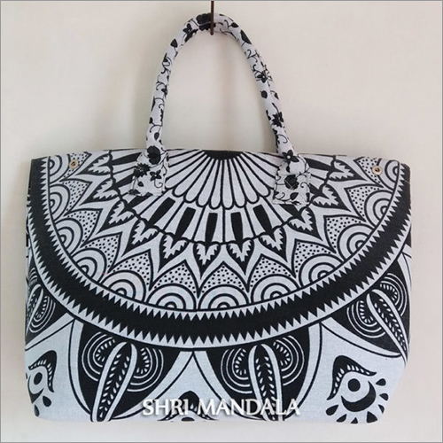 Black White Embroidered Shoulder Bag
