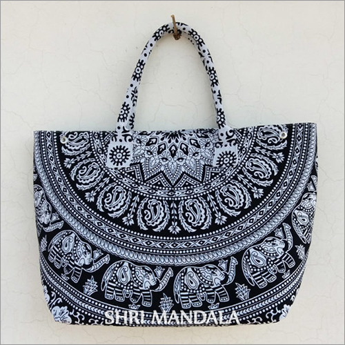 Black White Elephant Mandala Women Handbag