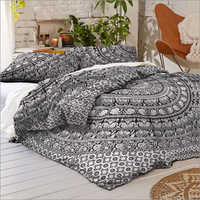 Black and White Elephant Mandala Queen Size Duvet Quilt Cover Set