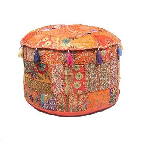 Bohemian Ottoman Orange Patchwork Pouf Cover