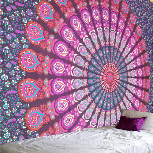 Pink Purple Indian Hippie Mandala Tapestry Wall Hanging Queen Size