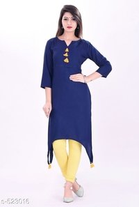 selfi-printed Kurti Palazzo Set Fabric:Kurti-Cotton/Rayon,Palazzo-Cotton/Rayon Sleeves:Sleeves are included