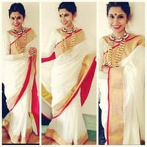 Ladies Half Silk White Saree
