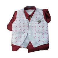 Kids Printed Waistcoat Suits