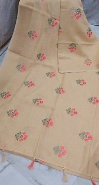 Linen Flower Embroidery Work Sarees