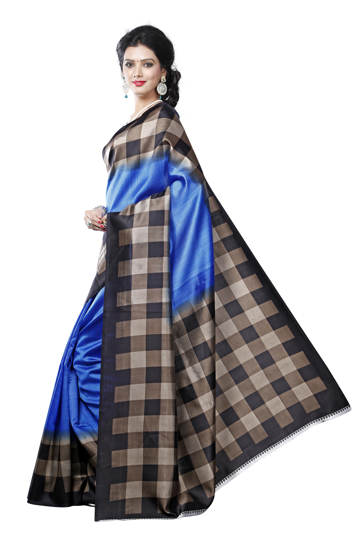 Checks Design Printed Silk Saree