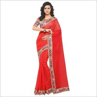 Fancy Chanderi Lace Border Sarees