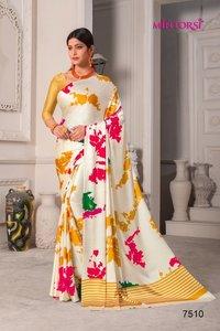 Fancy Satin Printed Sarees