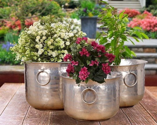 Silver Hammered Nickel Plating Planter