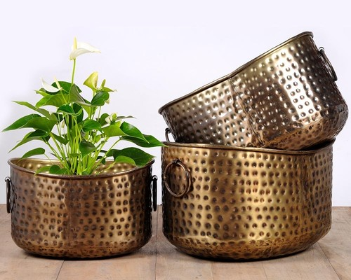 Antique Copper Hammered Planter / Iron Hammered Planter