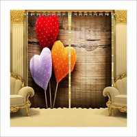 Three Heart Printed Curtains