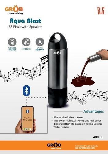 Aqua Blast SS Flask with speaker