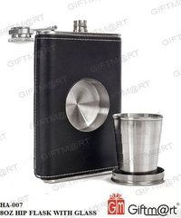 8 oz Hip Flask with Built-in Collapsible Shot Glass