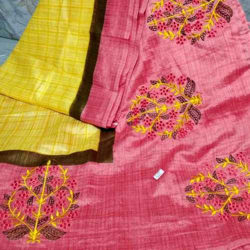 Party Wear Linen Cutwork Check Saree