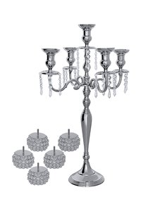 5 Arm Crystal Globe Candelabra Wedding Centerpieces Votive Candle Holders 80CM