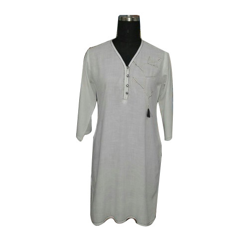 3/4th Sleeve Plain Ladies Kurti