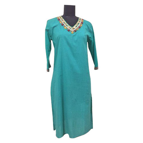 V Neck Full Length Ladies Kurti