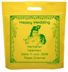 Offset Print Happy Weeding Non Woven Bag