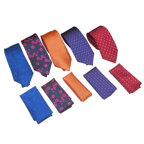 Mens Printed Tie With Pocket Square