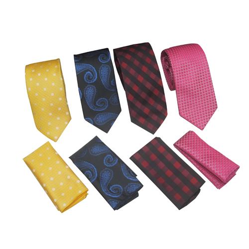 Mens Micro Silk Ties With Pocket Square