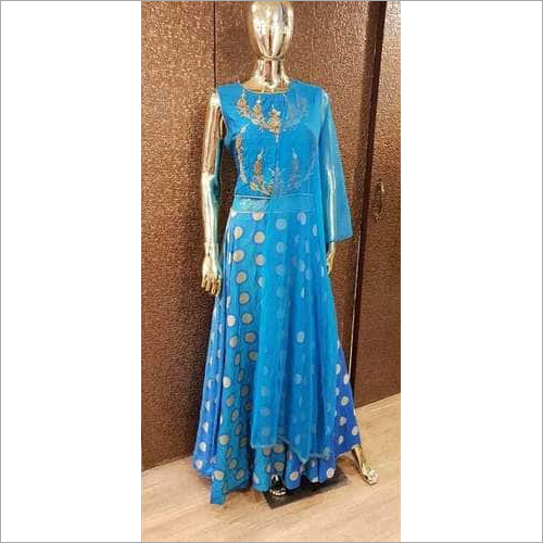 Designer Banarasi Zari Work Gown