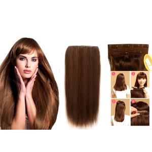 6 Clip 18 Inch Medium Brown Human Hair Extension
