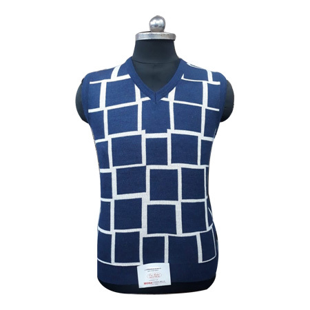 Men's Check Sleeveless Sweater