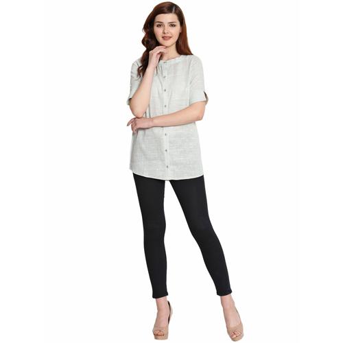 Ladies Grey Cotton Khadi Shirt