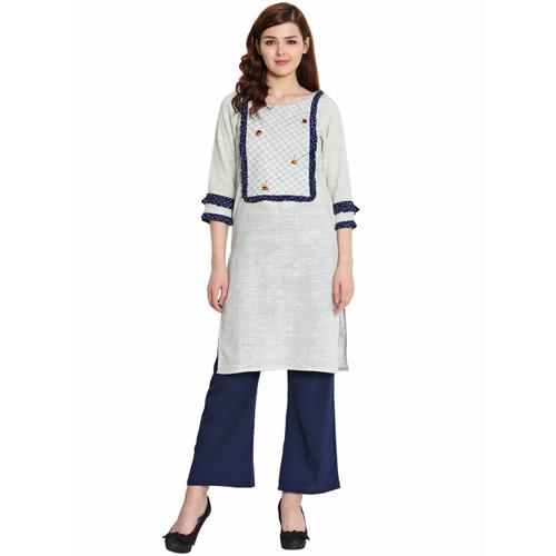 Ladies Grey Cotton Khadi Kurti